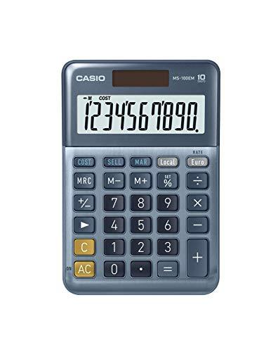 Casio MS-100EM - Calculadora de Escritorio con Pantalla Extra-Grande de 10 dígitos, con energía Solar/batería, con cálculo avanzado de Porcentaje, conversión de Moneda en Euros, Azul