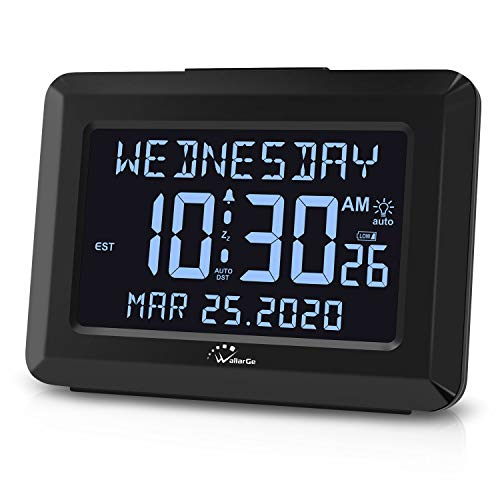 """WallarGe Auto Set Digital Alarm Clock with USB Charger, 6"""" Large Screen Days Clocks for Alzheimer's Senior Old People, Snooze, Calendar, AC Powered with Battery Operated Options Clock for Bedroom."""