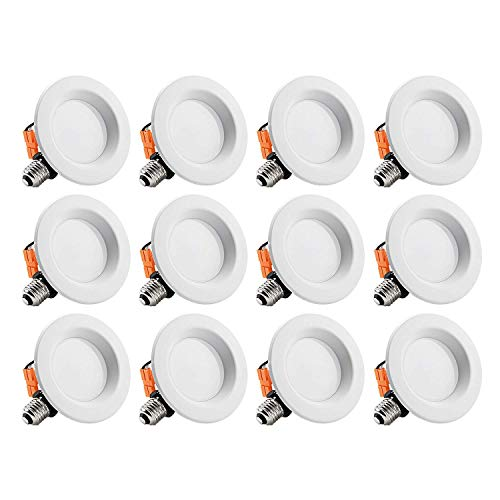 12 PACK Wet Location 4-inch Dimmable Recessed LED Downlight, 13W (85W Equivalent), ENERGY STAR, 5000K Daylight, 800lm, Retrofit LED Recessed Lighting Fixture, 5 YEAR WARRANTY