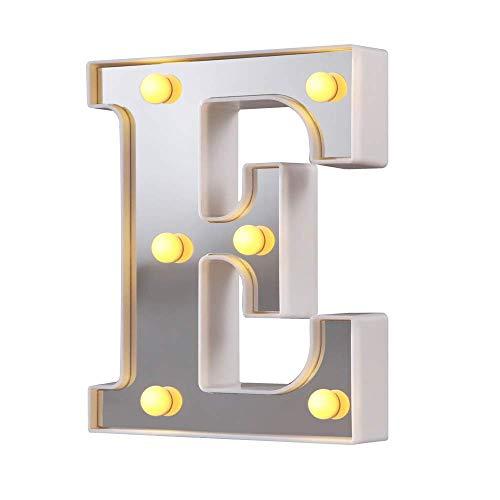 Luces de letras de marquesina LED 26 letras del alfabeto iluminado Letrero perfecto para luz nocturna Boda Fiesta de cumpleaños Lámpara de Navidad Decoración de la barra del hogar (Plata E-0310)