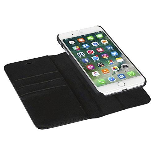 Custodia iPhone 8 Plus/Custodia iPhone 7 Plus Nero - CASEZA'Zurich' Rimovibile a Portafoglio Eccellente Cover in Pelle Sintetica 2 in 1 a Libro Magnetica per iPhone 8 Plus & 7 Plus Originale