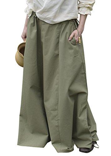 Mittelalterlicher Rock, weit ausgestellt, grün - Mittelalterkleidung Magd - Wikinger LARP Damen lang Größe S