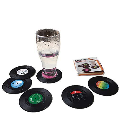 6 posavasos de vinilo para CD de retro para café