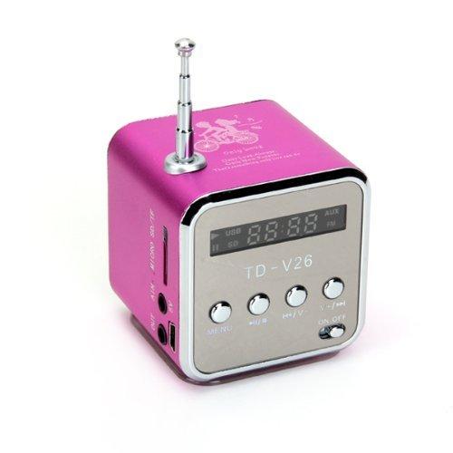 Yuhemii td-v26mini lettore musicale portatile digitale con micro SD/TF/USB/FM radio rosa rosso Rose Red