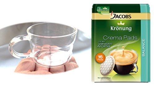 Jacobs Kaffeepads Krönung Crema Balance 16 Stk + Design Glastasse, Kaffeetasse, Kaffee, Tasse, Glas, 200ml, 4er Pack im Geschenk Karton