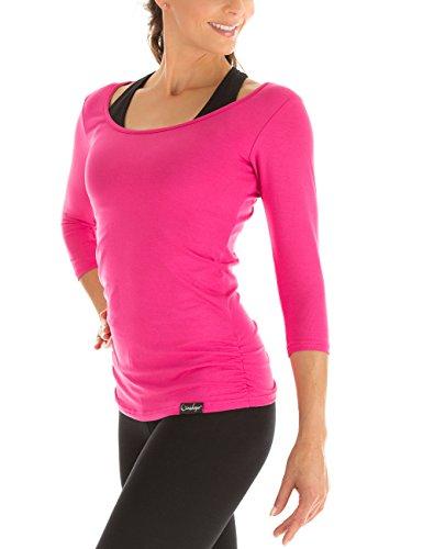 Winshape Damen Fitness Yoga Pilates 3/4-Arm Shirt WS4, Pink, Gr. M
