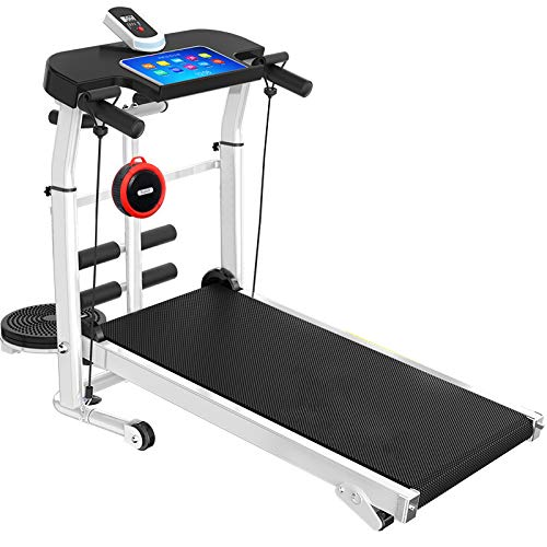 RAFFISH Folding Treadmill with Bluetooth Speaker, Mechanical Treadmill,Portable Adjustable Incline Shock Home Indoor Sports (Black)