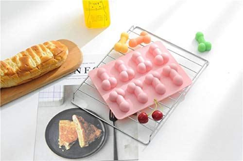 Funny Cute Sexy Penis Cake Mold Silicone Mould, 8-Cavity Non-Stick Chocolate Mold Ice Cube Tray Soap Candle Moulds Sugar Craft Tools Bakeware Moulds (Pink)