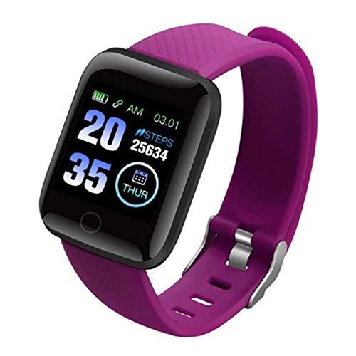 Inteligente Reloj Podómetro Fitness Tracker Smartwatch Color Screen Pulsera Actividad Impermeable IP68, con Notificación de Llamada Monitoreo del Sueño para Android/iOS/Hombre/Mujer,Púrpura