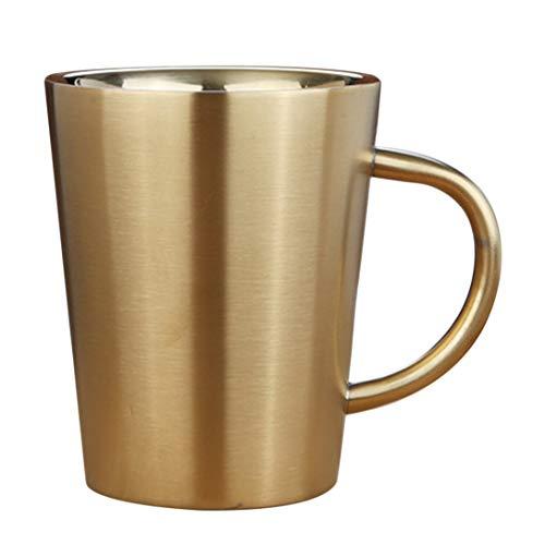Taza de café reutilizable de acero inoxidable con aislamiento térmico de doble pared para agua y leche de té o cerveza bebida taza de viaje vaso, acero inoxidable, Tipo 2, As description