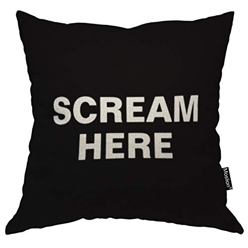 Moslion Throw Pillow Cover Scream Here 18x18 Inch Black White Phrase Square Pillow Case Cushion Cover for Home Car Decorative Cotton Linen