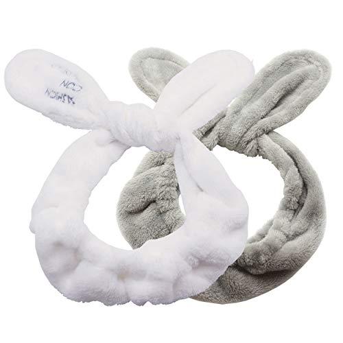 Dofash 2 Stk Süßes Kaninchen Ohren Schmink Haarband Waschen Gesicht Dusche Haarbänder Beauty Lovely Spa Stirnbänder mit Delikat Tasche für Mädchen Frau (Weiß/Grau)