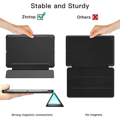 ZtotopCase Hülle für Samsung Galaxy Tab A 10.1 2019 - Leichtgewichts-Ultra Schlank PU Leder Hülle,Dreifach gefalteter Ständer,für Samsung Galaxy Tab A 10,1 Zoll 2019 Tablet SM-T510/SM-T515,Schwarz