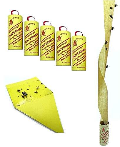 Fliegenfalle gegen Fliegen Mücken etc. im Haus , Fruchtfliegenfalle, Obstfliegenfalle , Mückenfalle, Gelbtafel, Umweltfreundlich,giftfrei - Made in Germany (5 Rollen + 1 Makalu Gelbsticker)