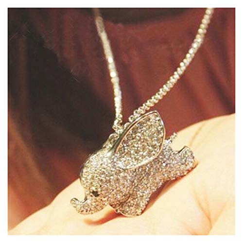 WanXingY 1 PC Cute Luck Elephant Rhinestone Pendant Necklace 3D Necklace Jewelry Cute Long Sweater Chain (Color : Blue zinc)