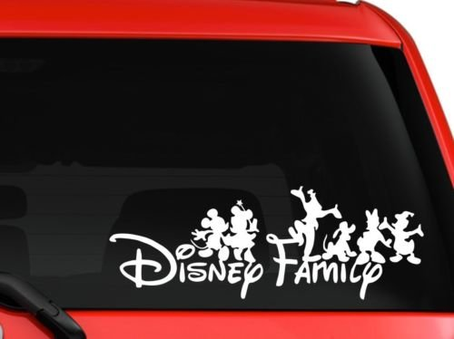 LA DECAL family Mickey and friends car truck SUV mac book laptop tool box wall window decal sticker approx. 8 inches white