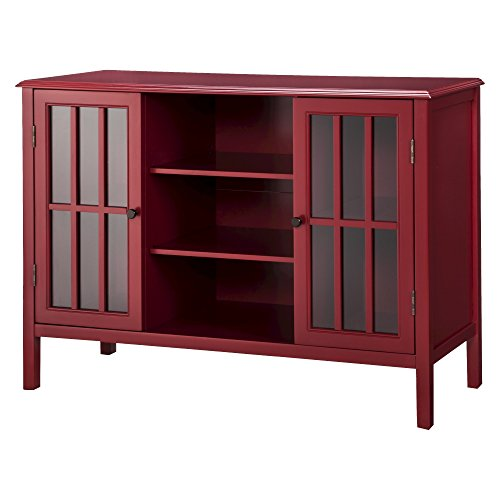 Threshold Storage Chest: Threshold Windham 2 Door Storage Cabinet with Center, Red