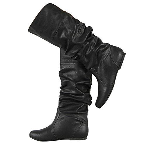 Bigtree Damen Stiefel Kniehoch Slouchy Gemütlich Flach Pull On Lange Stiefel Klassisch Western Kampfstiefel Winter Herbst Schnee Stiefel Schwarz