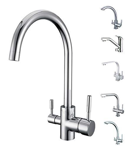 SMARDY DUO302 3 Wege Wasserhahn Küchenarmatur 360° schwenkbar, Mischbatterie für Osmoseanlagen inkl. 3/8