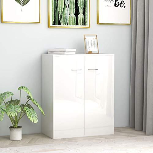 UnfadeMemory Sideboard Spanplatte Kommode & Highboard 60 x 30 x 75 cm Standschrank Beistellschrank mit 2 Großen Fächern für Wohnizmmer Schlafzimmer (Hochglanz-Weiß)