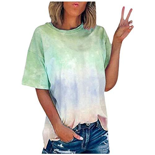 Xniral Damen T-Shirt Tie-Dye Farbverlauf Beiläufig Übergroße Lose Basic Tops Bluse Sport Yoga Shirt Tshirts Rundhals Oberteile(Grün,3XL)