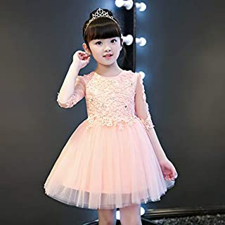Luxury Pompon Princess Dress Girls Bouquet Beaded Gauze Short Dress Meat Pink Flower Girl Little Girl Show Host Costumes Western Style Piano ryq (Color : Flesh Pink, Size : 140cm)