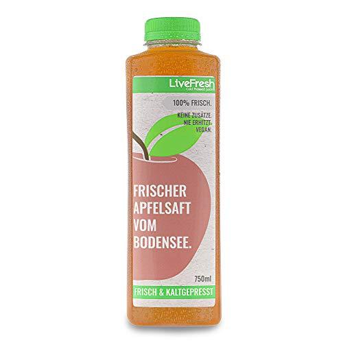 LiveFresh Premium Apfelsaft Bodensee 750ml | Kaltgepresst aus frischen regionalen Äpfeln | Keine Zusätze, kein zusätzlicher Zucker | Bis zu 6 Wochen haltbar | Gekühlt und isoliert geliefert