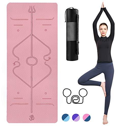 TTMOW Yogamatte rutschfest mit Ausrichtungslinien TPE Gymnastikmatte mit Tragegurt und Aufbewahrungstasche für Yoga,Pilates,Fitness.Ideal als Sportmatte,Fitnessmatte,Trainingsmatte Yoga mat (pink-1)