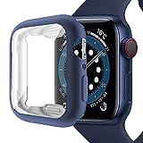 Miimall Compatible con Apple Watch Series 6/SE/5/4 44mm Funda con Protector de Pantalla, Mate Suave TPU Carcasa Ultrafina Resistente a los arañazos Funda para iWatch 44mm - Azul