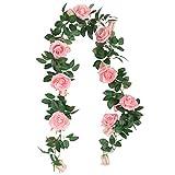 SHACOS Juego de 3 Guirnalda Rosas Artificiales 200cm Flores Vides Flores Falsas Colgando Plantas...