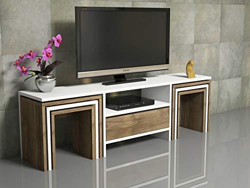 Bonamaison Zigon Tv-Einheit Weiß / Istanbul, Möbel für Wohnzimmer, Schlafzimmer, Küche, Büro - Entworfen und Hergestellt in der Türkei