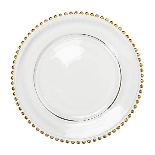 EME Unterteller mit Perlen, goldfarben, 6 Stück in transparentem Glas. 33 cm Durchmesser 6Stück.