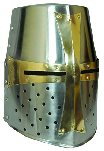Mutu Greenworld Brass Crusader Helmet Armor (Great Helm) Silver