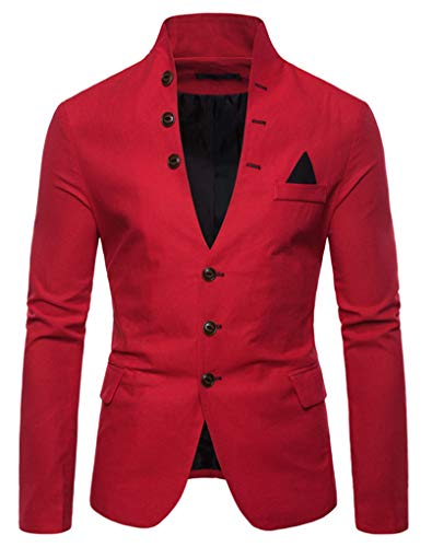 THWEI Mens Casual Slim Fit Blazer Standing Collar Blazer 3 Button Suits Sport Coats(Red-XL)