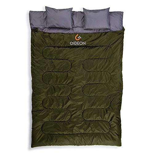 Gideon Waterproof Double Sleeping Bag with 2 Pillows - Amazingly Lightweight, Compact, Comfortable & Warm - for Backpacking, Camping, etc. Double Size or Convert into 2-Single Bags