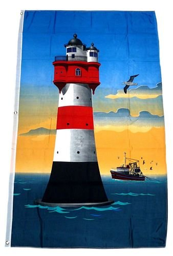 Fahne / Flagge Roter Sand Leuchtturm NEU 90 x 150 cm