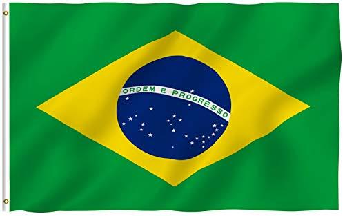 ANLEY Fly Breeze Bandeira do Brasil de 3x5 pés - Cor vívida e resistente ao desbotamento UV - Cabeçalho de lona e costura dupla - Bandeiras nacionais brasileiras de poliéster com ilhós