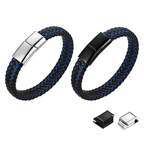 JEWELRYWE ブランド ブレスレット メンズ 革 レザー ステンレス シンプル プレート 本革 バングル 腕輪 ブラック 黒 編込み ブレスレット 仕上げ 肌に優しい アレルギー対応 2セット(ブラック;シルバー)