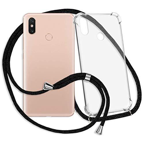 mtb more energy® Handykette kompatibel mit Xiaomi Mi Max 3 (6.9'') - schwarz - Smartphone Hülle zum Umhängen - Anti Shock Strong TPU Case