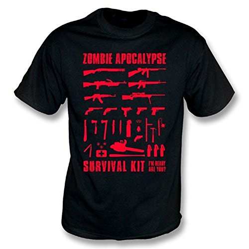 TshirtGrill Zombie Apocalypse Survival Kit T-Shirt, Größe L, Schwarz