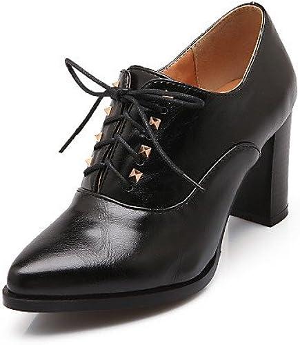 NJX  zapatos de mujer - Tacón Robusto - Comfort   Puntiagudos - Oxfords - Exterior   Oficina y Trabajo   Vestido - Semicuero -negro   marrón