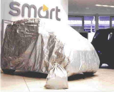 Kley & Partner Autoabdeckung Vollgarage Ganzgarage kompatibel mit Smart fortwo 453 in Silber Exclusiv aus Tyvek mit Lagerbeutel