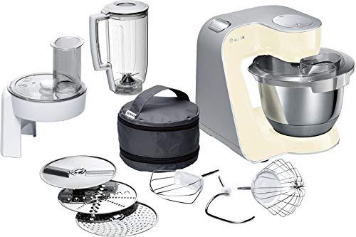Bosch MUM5 CreationLine Küchenmaschine MUM58920, vielseitig einsetzbar, große Edelstahl-Schüsssel (3,9l), Durchlaufschnitzler, 3 Scheiben, Mixer, 1000 W, vanille/silber