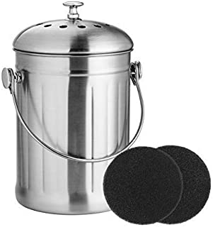 ENLOY Compost Bin, Stainless Steel Indoor Compost Bucket for Kitchen Countertop Odorless Compost Pail for Kitchen Food Waste with Carrying Handle and 2 Charcoal Filter 1.3 Gallon Easy to Clean