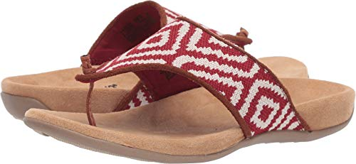 Minnetonka Womens Fresno Fabric Mara Sandal 8 M US Red