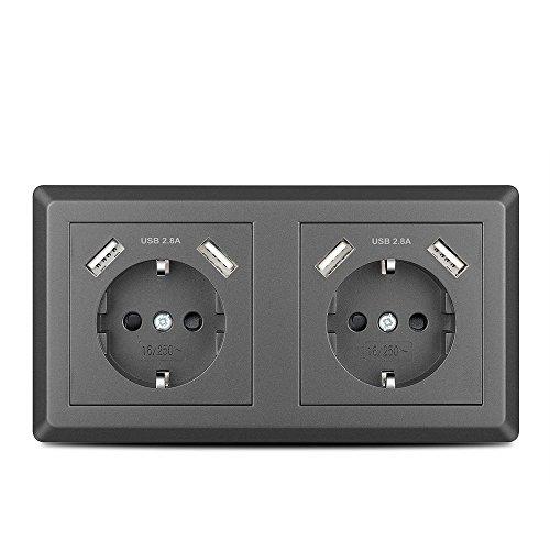 Doppelsteckdose mit 4 USB Anschlüssen Grau, Kaifire Schuko USB Steckdose System 55 unterputz Passt in Standard 2-fach Unterputzdose, Ladegerät für Smartphone Tablet MP3