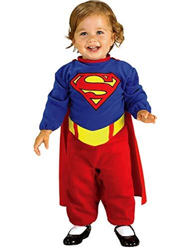 MalibuLove Costume Neonato Superman SuperGirl per neonata Bebè Travestimento Carnevale Halloween Festa a Tema Supereroi Cosplay Licenza Ufficiale Tuta e Mantello Bambina (0-6 Mesi)