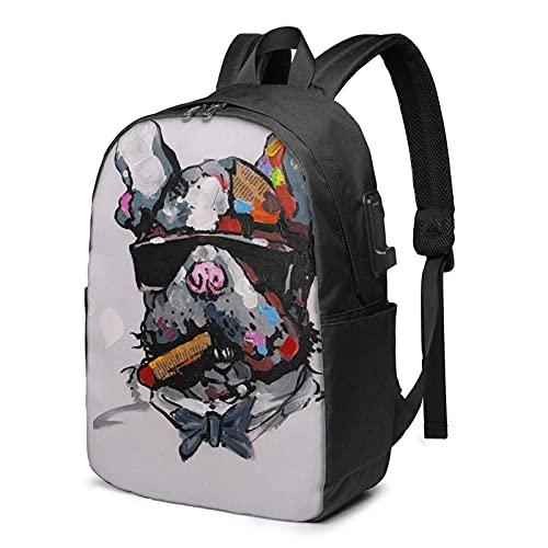 XCNGG Laptop Backpack,17 Inch Travel Lightweight Backpack with USB Charging Port Smoking Dog with Sunglasses