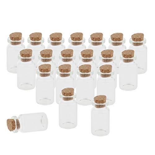 Almencla 20pcs Mini Cr Deseando Frascos de Botellas de Vidrio con Mensaje de Corcho -10ML