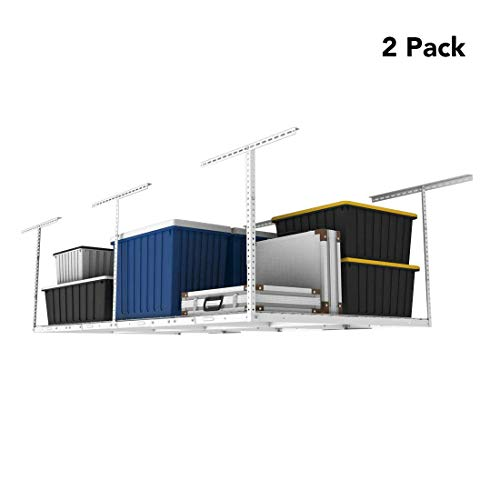 FLEXIMOUNTS 2-Piece Overhead Garage Storage Rack Set Adjustable Ceiling Storage Racks, 96' Length x...